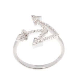 Cubic Zirconia Pointy Anchor Ring